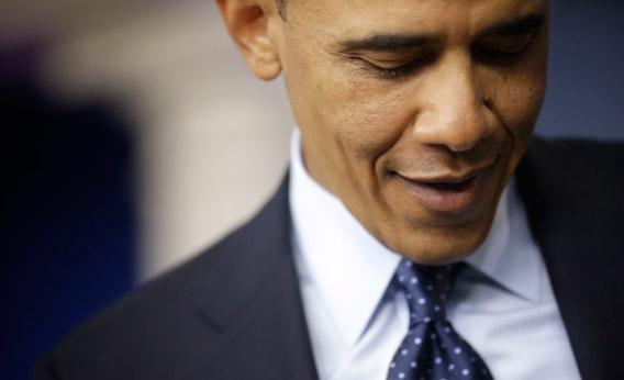 President Barack Obama is seen speaking to reporters in the White House briefing room in Washington, Friday, March 1, 2013, following his meeting with congressional leaders regarding the automatic spending cuts.