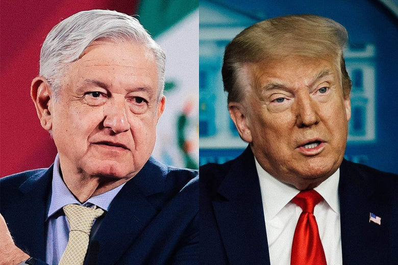 Side-by-side photos of López Obrador and Trump.