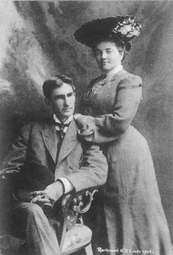 A portrait of Thomas Dixon, Jr. and his first wife, 1908.