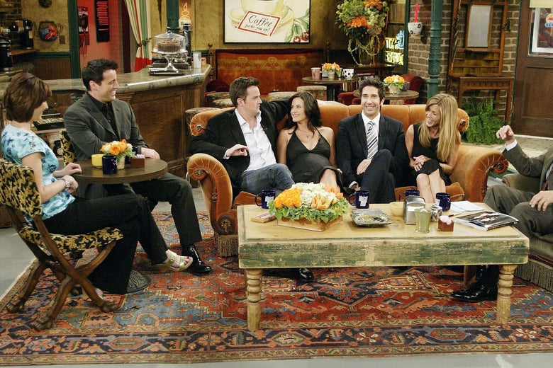 "In this handout photo provided by NBC, the cast of ""Friends"", actors Lisa Kudrow, Matt LeBlanc, Matthew Perry, Courteney Cox-Arquette, David Schwimmer and Jennifer Aniston sat down with Jay Leno for a special ""Tonight Show,"" on the set of Central Perk on May 6, 2004 in Los Angeles, California. (Photo by Paul Drinkwater/NBC via Getty Images)"