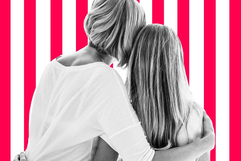 backsides of a woman hugging a teen girl (or young woman) over rotating pink and white bars