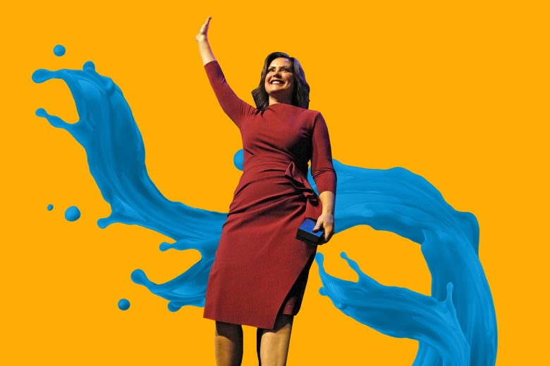 Gretchen Whitmer over a blue wave of water