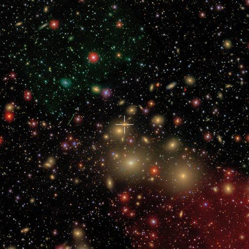 Perseus cluster of galaxies, with NGC 1277 marked.