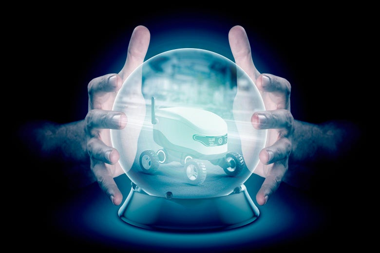 Two hands around a crystal ball with an image of a delivery robot inside it