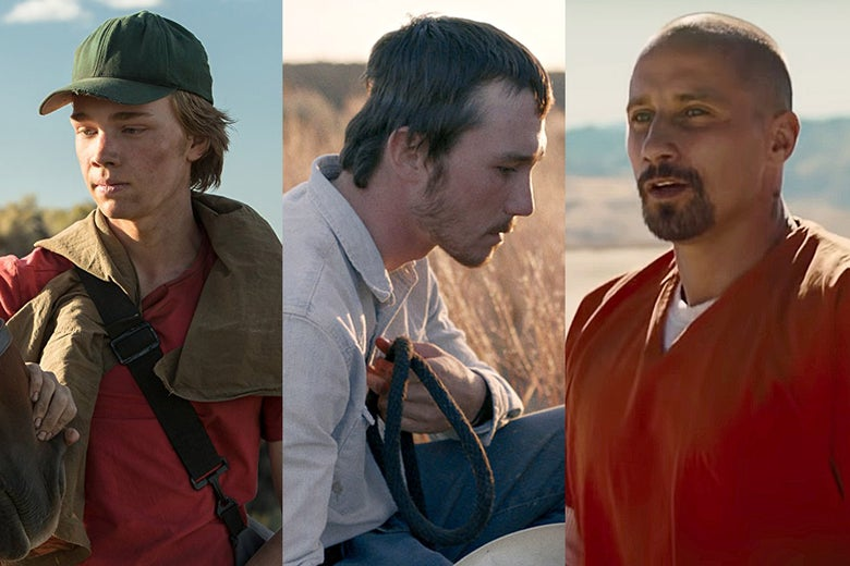 Charlie Plummer in Lean on Pete, Brady Jandreau in The Rider, and Matthias Schoenaerts in The Mustang.