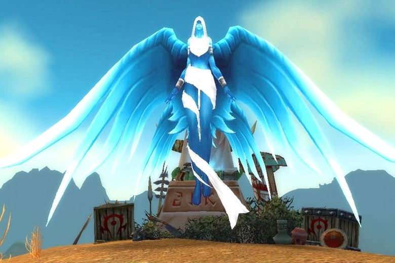 An angelic figure guards the Shrine of the Fallen Warrior in World of Warcraft's Barrens map, a Horde location.
