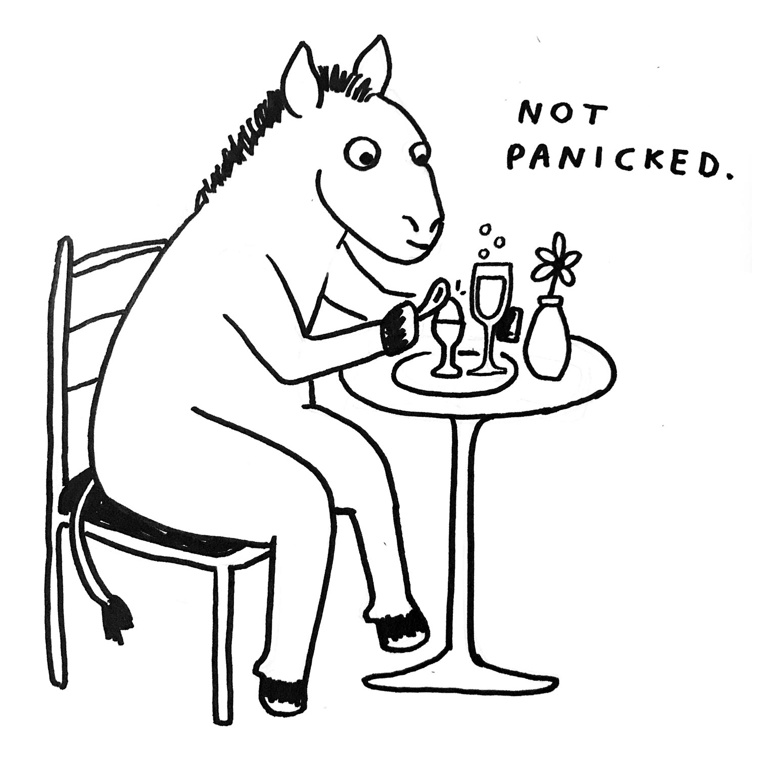 A drawing of a donkey sitting at a table for brunch.