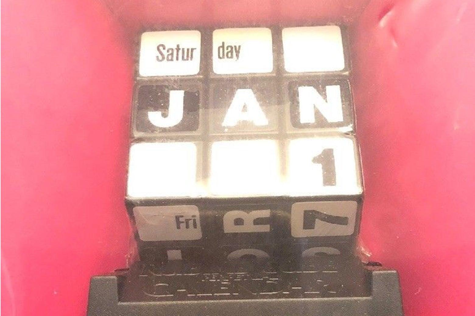 A Rubik's Cube perpetual calendar.
