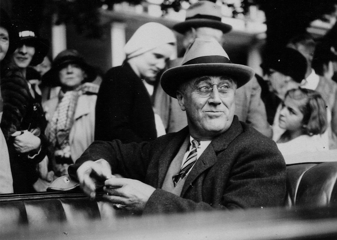 FDR campaigning in 1932.