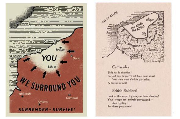 Left: The pamplet in Dunkirk. Right: The real-life pamphlet that inspired it.