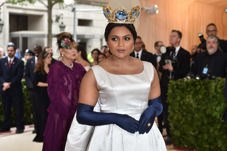 Actress Mindy Kaling arrives for the 2018 Met Gala on May 7, 2018, at the Metropolitan Museum of Art in New York. - The Gala raises money for the Metropolitan Museum of Arts Costume Institute. The Gala's 2018 theme is Heavenly Bodies: Fashion and the Catholic Imagination. (Photo by Hector RETAMAL / AFP)        (Photo credit should read HECTOR RETAMAL/AFP/Getty Images)