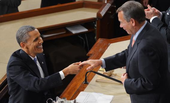 President Barack Obama shakes hands with House Speaker John Boehner after delivering his State of the Union address before a joint session of Congress on Feb. 12, 2013, at the U.S. Capitol in Washington, D.C.