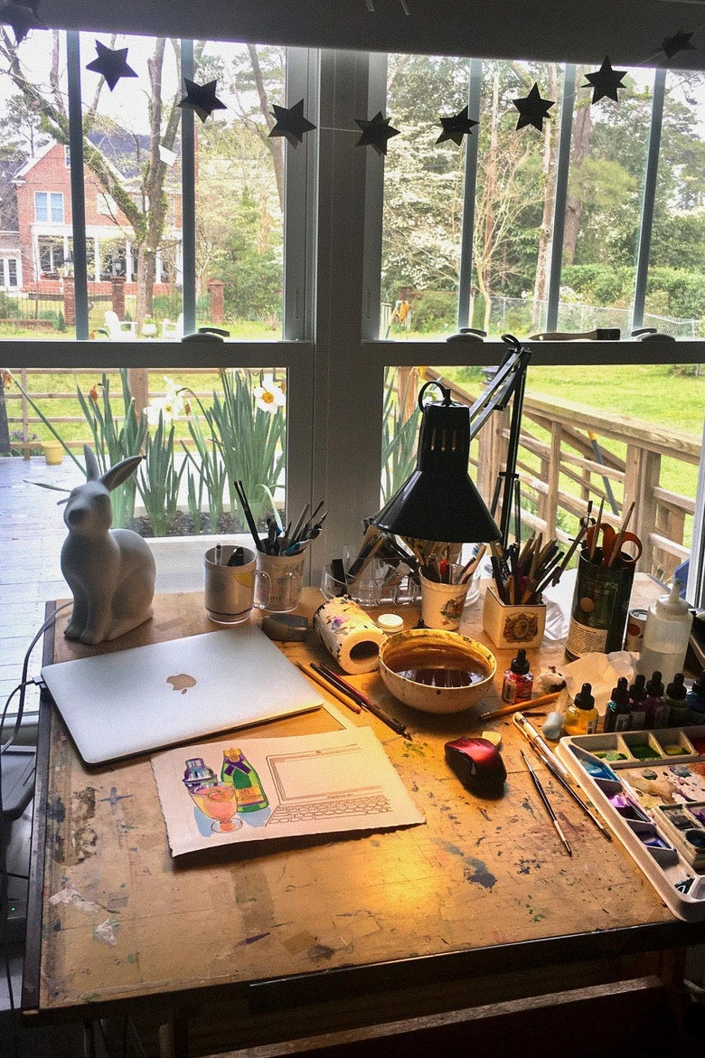 View from an artist's desk.