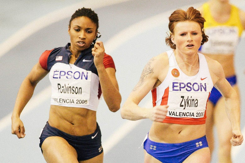 Zykina and Robinson sprinting neck and neck