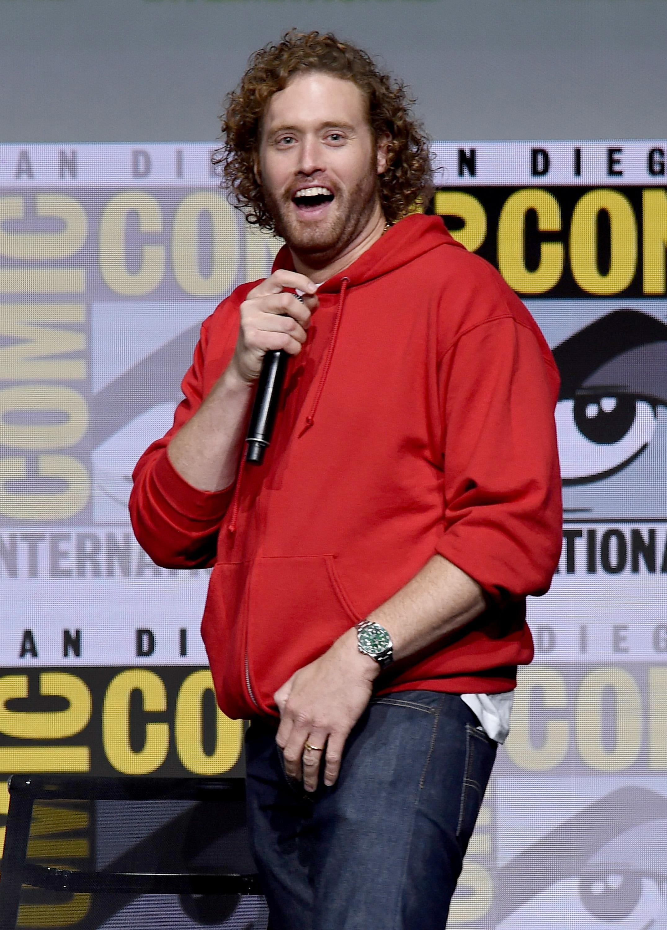 SAN DIEGO, CA - JULY 22:  Actor T.J. Miller attends the Warner Bros. Pictures Presentation during Comic-Con International 2017 at San Diego Convention Center on July 22, 2017 in San Diego, California.  (Photo by Kevin Winter/Getty Images)