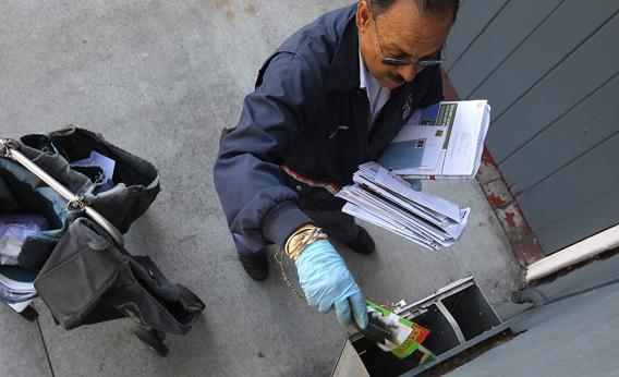 A U.S. Postal Service letter carrier