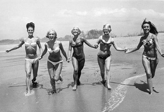 Bikini beach scene, 1965.