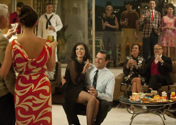 Jessica Pare and Jon Hamm in Mad Men.