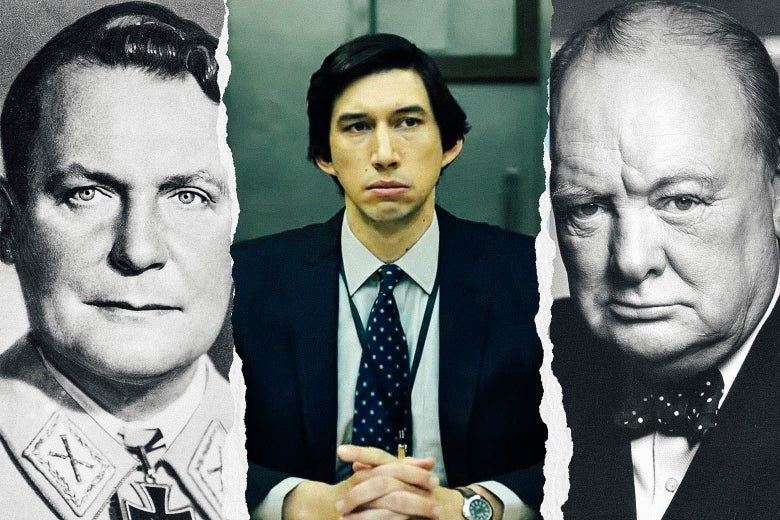 Photo side-by-side of Hermann Göring, Adam Driver, and Winston Churchill