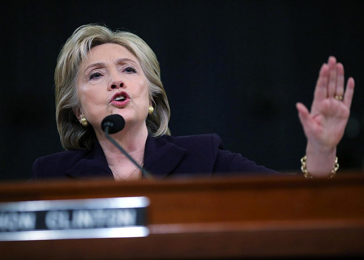 Democratic presidential candidate Hillary Clinton testifies on B,Democratic presidential candidate Hillary Clinton testifies on Benghazi.