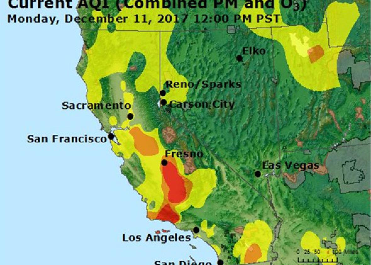 The California wildfires are spreading dangerous air
