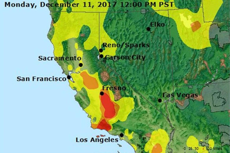 Image of air quality map of California