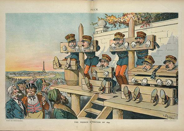 military officers standing and sitting in stocks.