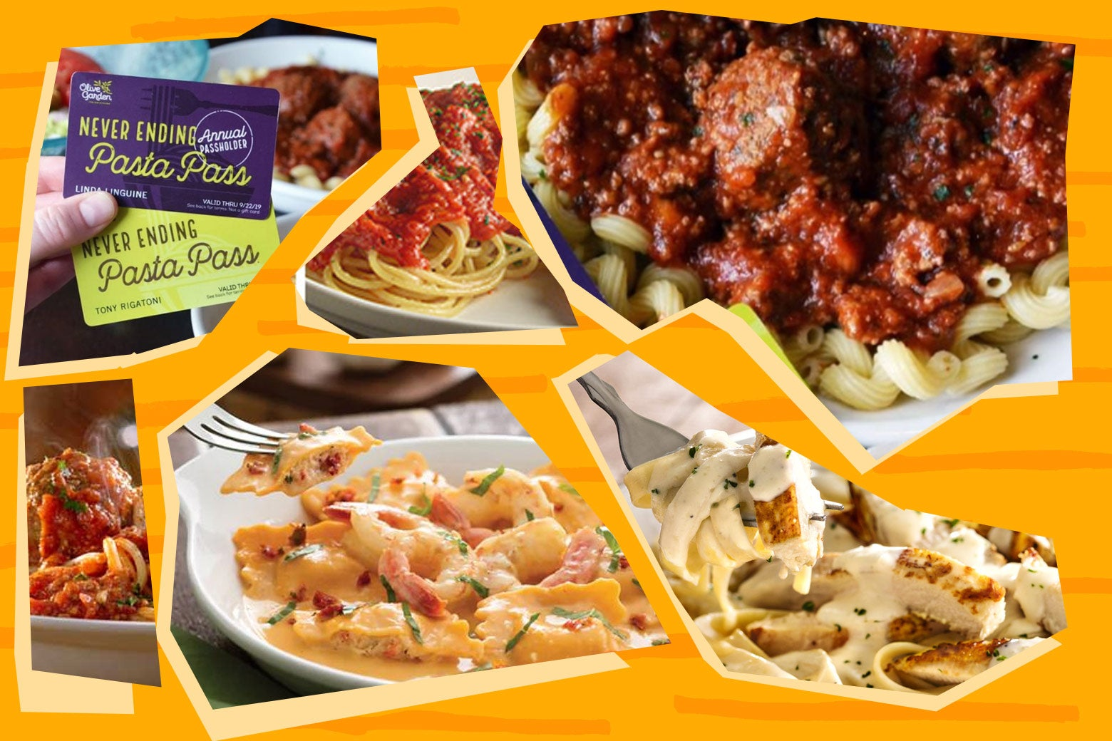 A feast of various pastas from Olive Garden or whatever Pasta Pass branding they have out.
