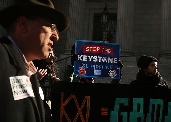 Protesters participate in an anti-Keystone pipeline demonstration.