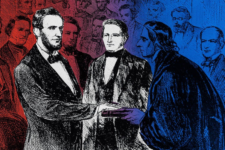 An illustration of Lincoln being sworn in on a Bible with James Buchanan standing next to him.