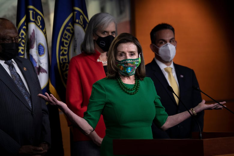 Speaker of the House Nancy Pelosi (D-CA) speaks during a press conference with other House Democratic leaders about Covid-19 financial relief and minimum wage on Capitol Hill February 26, 2021, in Washington, D.C.