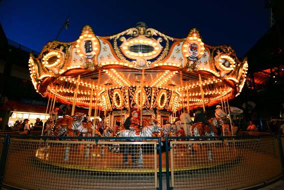 A general view of fans riding the Carousel at Comerica Park on April 30, 2013 in Detroit, Michigan.