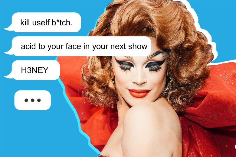 Examples of the text message threats along with a photo of Valentina.