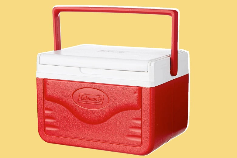 Coleman's small, red, hand-held cooler