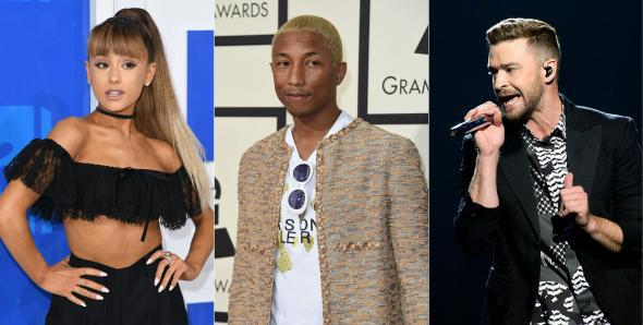Concert for Charlottesville performers Ariana Grande, Pharrell Williams, and Justin Timberlake.