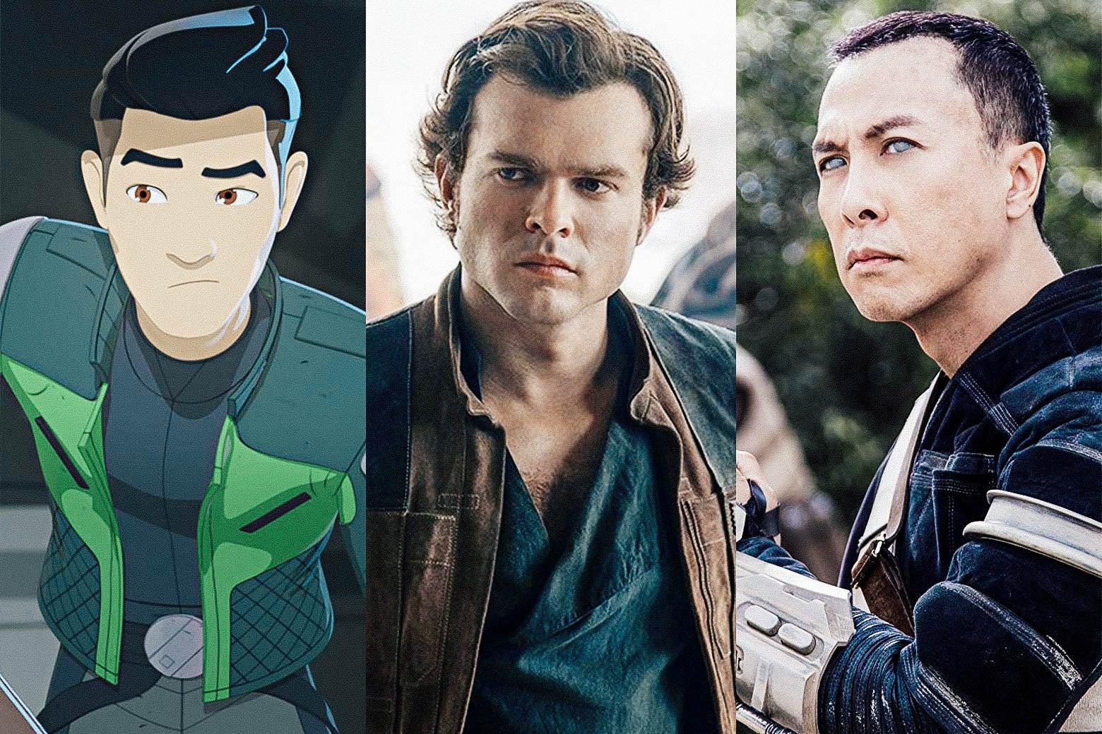 Kazuda in Star Wars Resistance, Alden Ehrenreich in Solo, and Donnie Yen in Rogue One