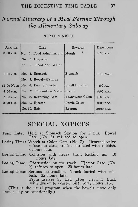Kellogg's digestive timetable.