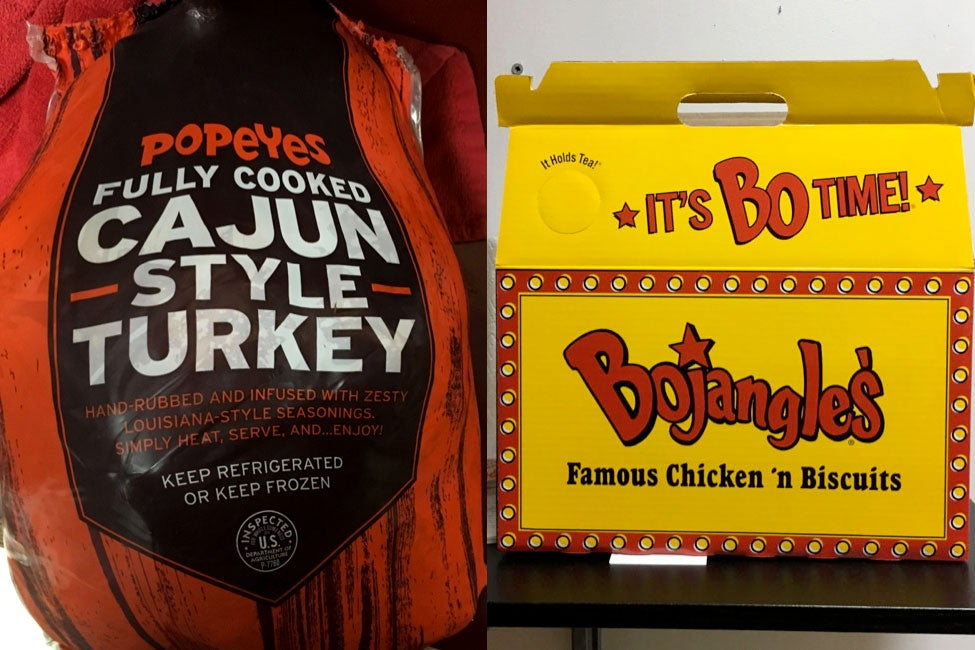 At left: A Popeyes turkey in its wrap. At right: A Bojangles' turkey in its box.