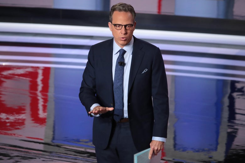 DETROIT, MICHIGAN - JULY 31: CNN moderator Jake Tapper speaks to the crowd attending the Democratic Presidential Debate at the Fox Theatre July 31, 2019 in Detroit, Michigan. 20 Democratic presidential candidates were split into two groups of 10 to take part in the debate sponsored by CNN held over two nights at Detroit's Fox Theatre.  (Photo by Scott Olson/Getty Images)