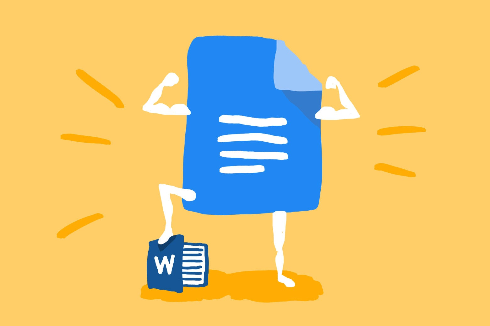 Illustration: A Google Docs logo with arms and legs poses while using a logo of Microsoft Word as a stepstool. Illustration by Natalie Matthews-Ramo. Google Docs is the best editor.