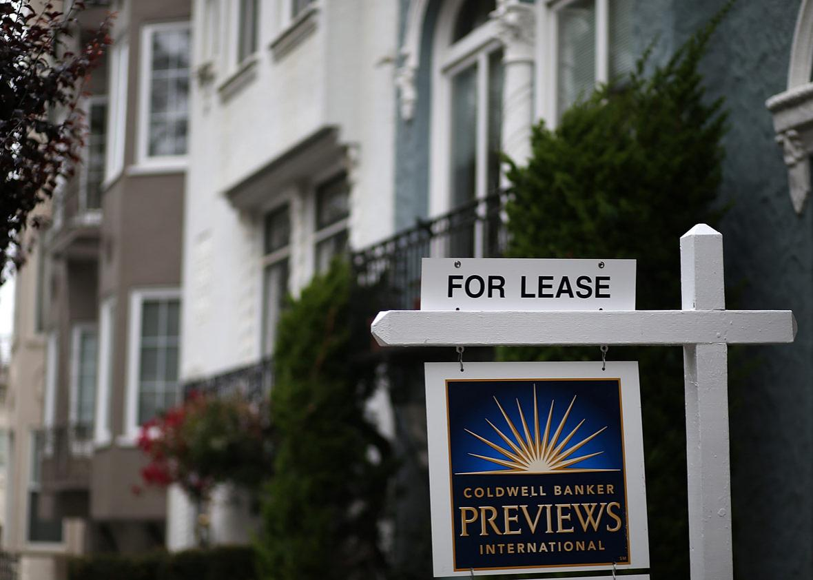 A for lease sign is posted in front of home for rent on April 21, 2015 in San Francisco, California.