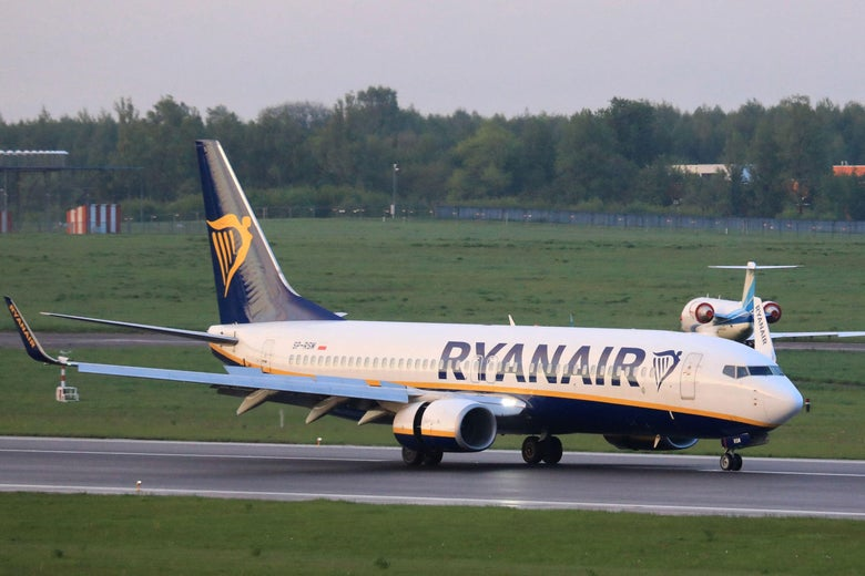 A photo taken on May 23, 2021 shows a Ryanair passenger plane from Athens, Greece, that was diverted to Minsk on the same day by Belarus authorities, landing at the airport in Vilnius, its initial destination.