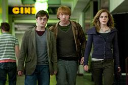 DANIEL RADCLIFFE as Harry Potter, RUPERT GRINT as Ron Weasley and EMMA WATSON as Hermione Granger. Click image to expand.
