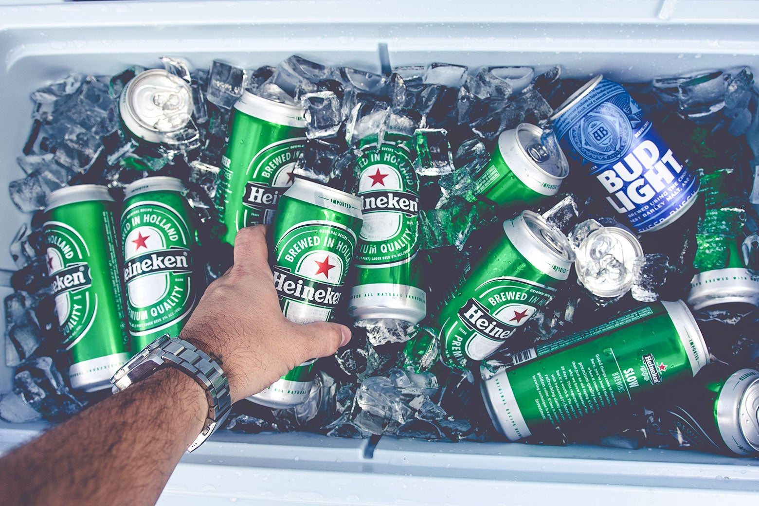 A person reaches into a cooler stocked with beer cans of Heineken and Bud Light.