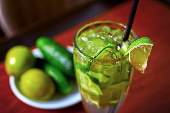 Cucumber lemonade cocktail.