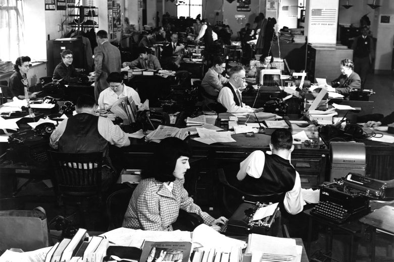 The News Bureau Room of the Office of War Information.