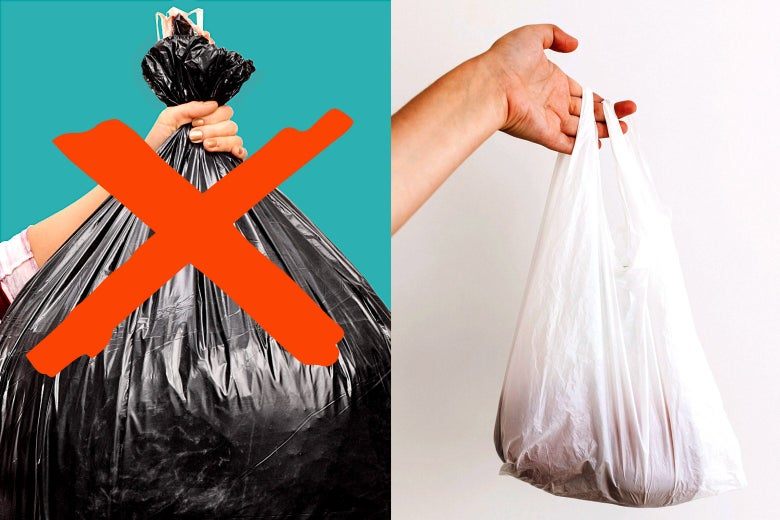 A big trash bag with an X over it and a small plastic bag.