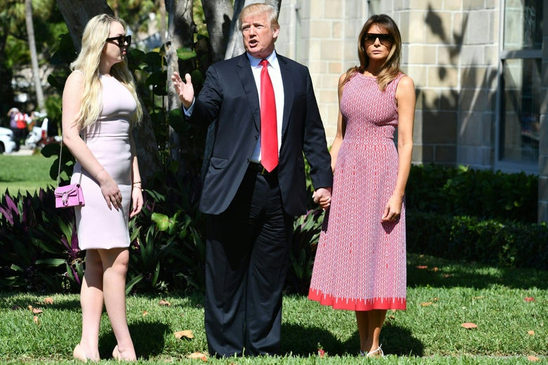 President Donald Trump with First Lady Melania Trump and daughter Tiffany Trump arrive for Easter service at the Church of Bethesda-by-the-Sea in Palm Beach, Florida, April 1, 2018.