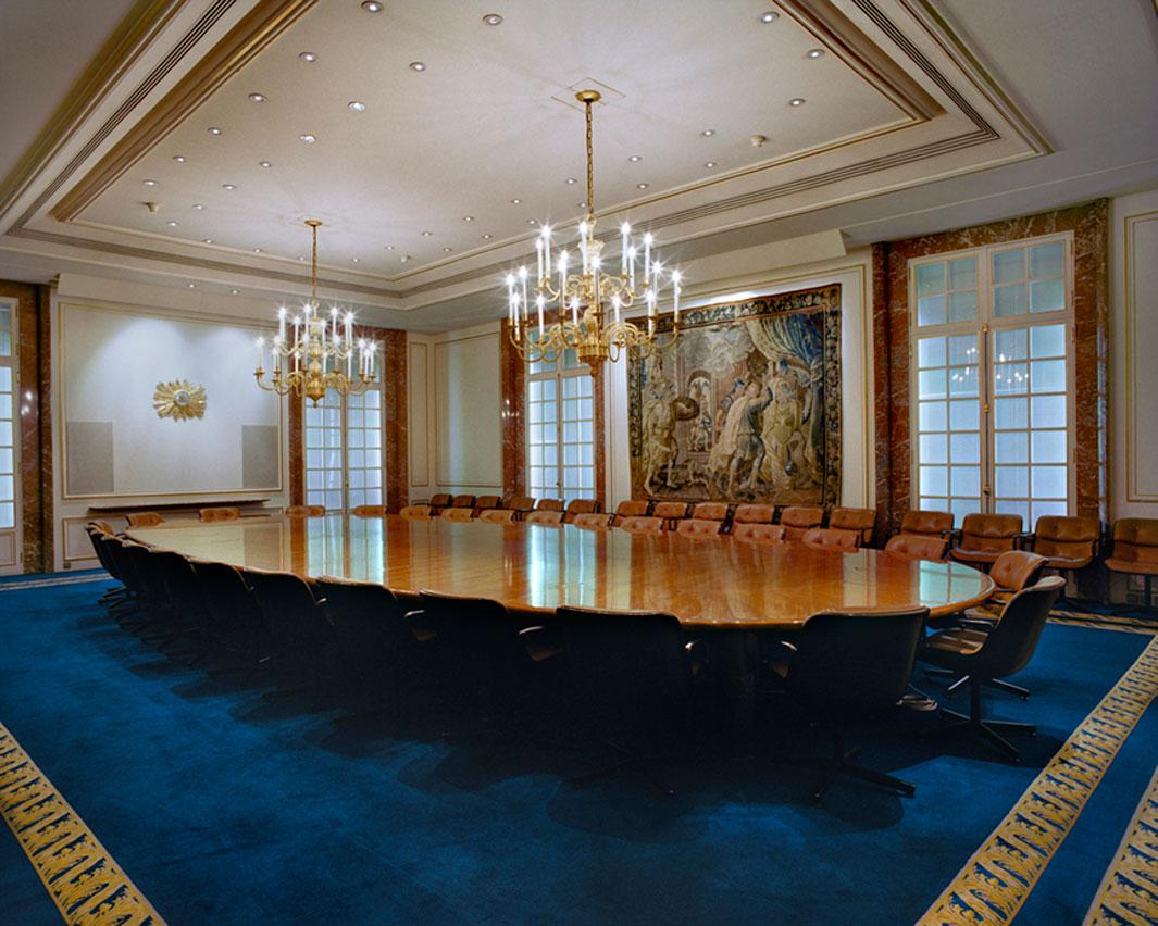 The meeting table of the Board of Directors of BNP Paribas Paris, France, December 7, 2009