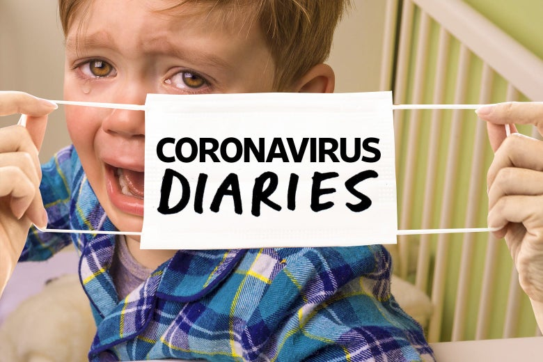 "A mask with the words ""Coronavirus Diaries"" is stretched over the face of a crying child sitting in a crib."